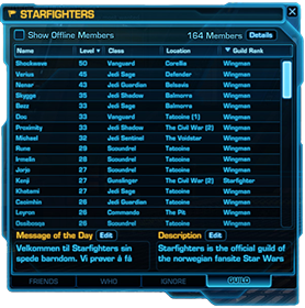 Star Wars Norge | Guild | Starfighters | Roster